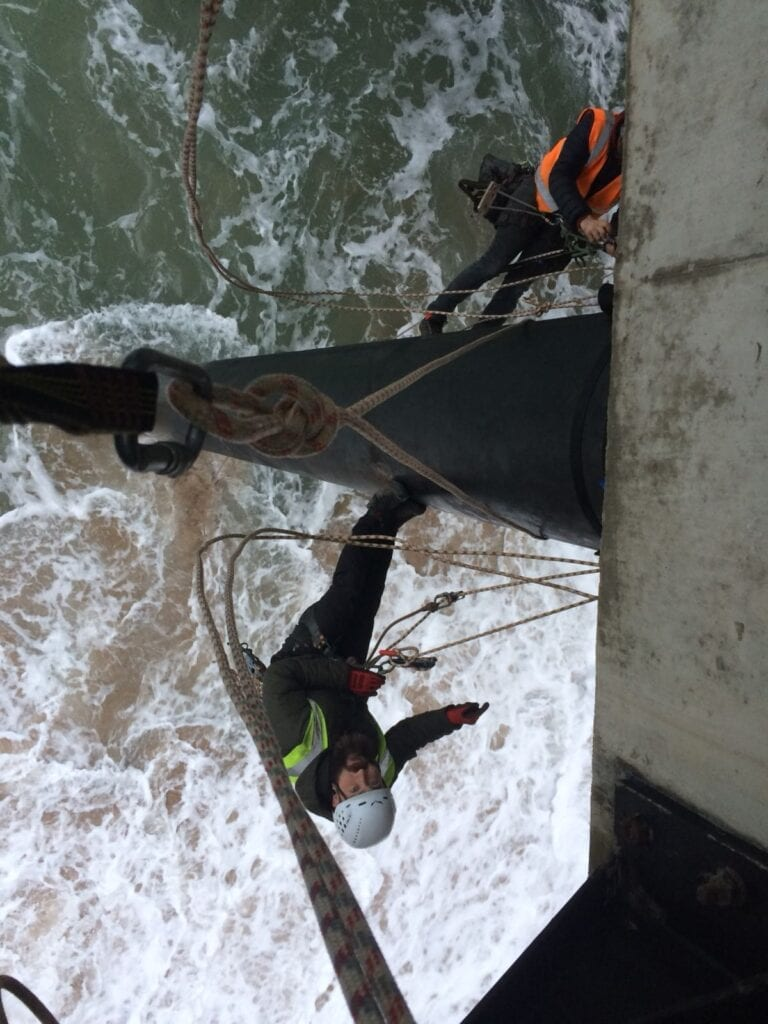 rigging from a pillar on a life boat station