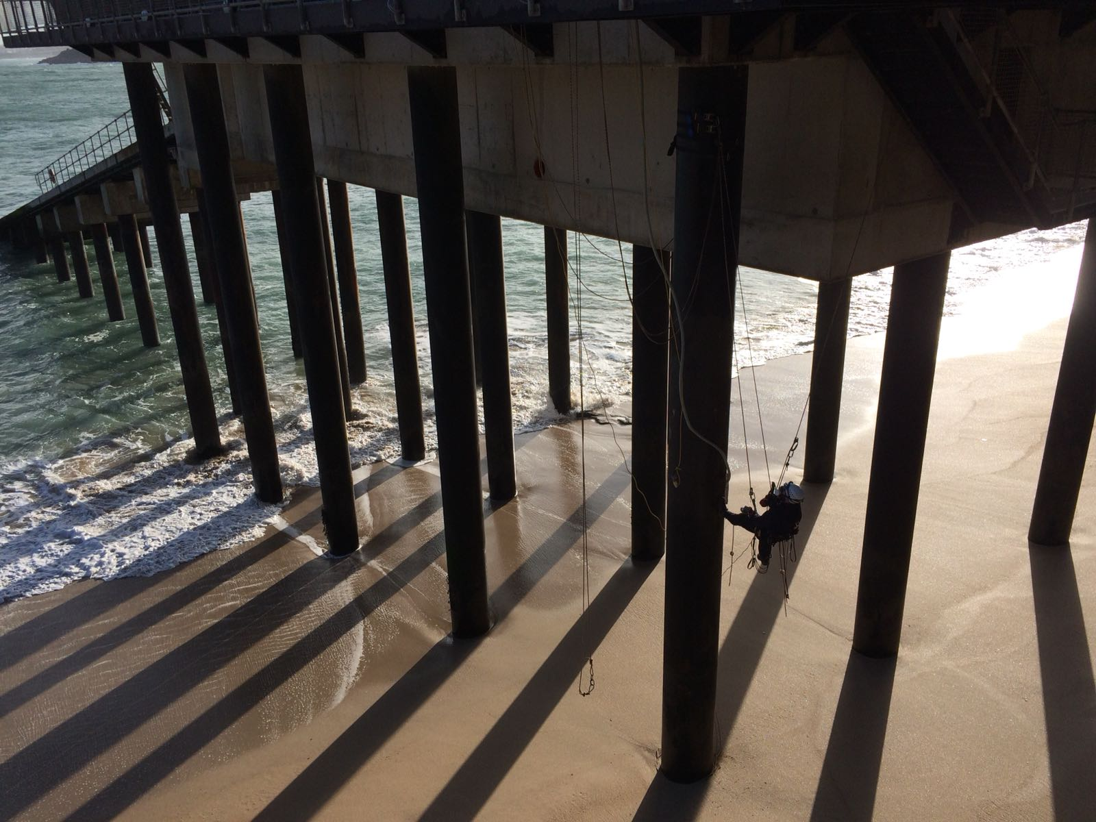 Abseiling from pillars on lifeboat station
